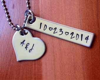 Date and Initials Necklace- Hand Stamped- Stainless Steel