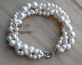 pearl bracelet-3 rows 8 inches 5-9mm ivory pearl bracelet,natural freshwater pearl bracelet  ,wedding bracelet