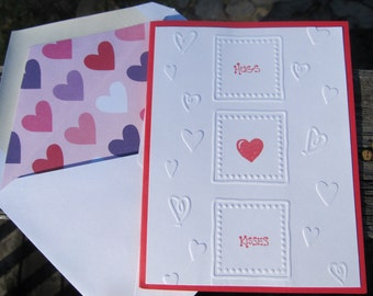 """Handcrafted Embossed """"Hugs & Kisses"""" Valentine's Day Card"""