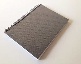 Grey Metal Notebook Spiral Bound Metallic Diary Size A6 Gift for him