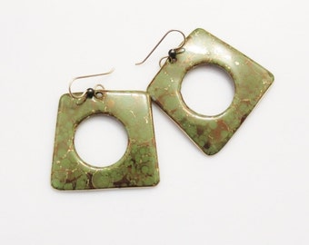 Large Green Ceramic Earrings Made in USA, 1980's Jewelry