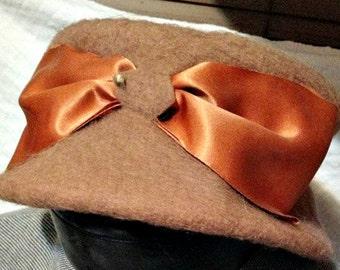 Tawny Brown Wool Pillbox Hat