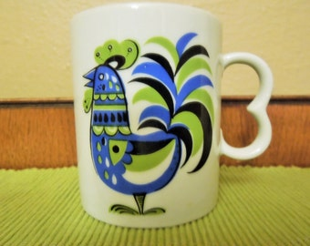 Vintage  Folky Blue and Green Rooster Cup