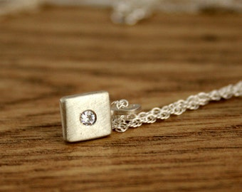 Ready to Ship Moissanite Silver Pendant, Flush Set White Gemstone, 18 inch Rope Chain, Recycled, Eco, Ethical, UK Handmade