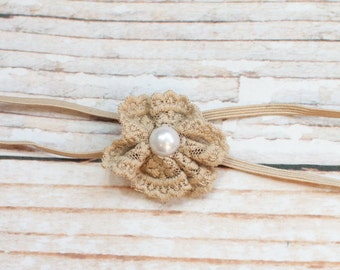 Itty Bitty Lace - Single Blossom in tan, brown  lace