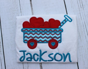 Valentine's Wagon Shirt - Personalized Valentine Shirt - Boy - Toddler - Baby -  Wagon