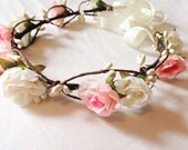 Woodland flower floral crown hair wreath (pink and cream rose) - Wedding headpiece, headband, vintage inspired rose crown