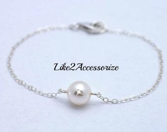 Sterling Silver Bracelet, Bridesmaid Bracelet, Ivory Rose Gold Champagne Pearl, Bridal Jewelry, Single Pearl Bracelets, Floating Bracelet