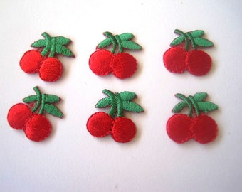 Cherries Embroidered Iron On Applique, Red,  5/8 x 3/4 inch, x 6, For Dolls, Apparel, Accessories, Decor, Romantic & Victorian Crafts