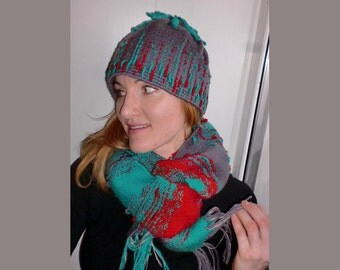 Woven Scarf + Handwoven Hat, Green, Red, Dark Lilac, Woven, handwoven