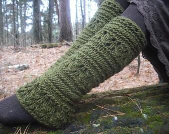 Knit Leg Warmers, Wool Leg Warmers, Women's Leg Warmers, Green Leg Warmers, Chunky Leg Warmer, Festival Leg Warmers, Pixie Leg Warmers