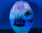 Fused Glass Scenic Pendant with Sailboat cruising Tropical Waters  50% off Clearance Sale