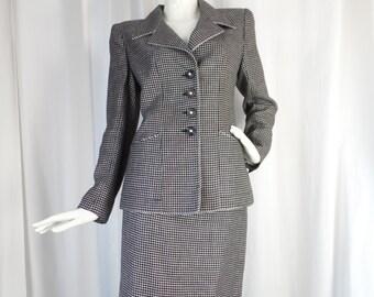 90s vintage EMANUAL UNGARO Parallele Paris linen mini windowpane  B&W skirt suit: US size 10/Fr 40