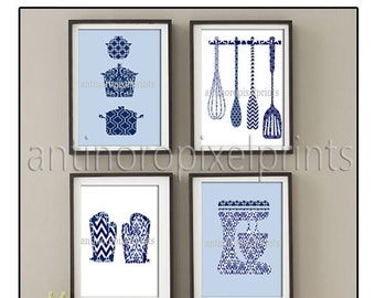 Damask Kitchen Tools Navy Blue White Art Collection  -Set of (4) - 5x7 Prints (Unframed)