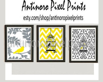 Digital Print Wall Art Bird Pictures  -Set of 3 - 5x7 Prints - Yellow White Grey Black Color (UNFRAMED) #129093913