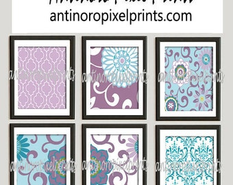 Brooklyn Art Baby Nursery Art Prints Collection  -Set of 6 - 8x10 Prints -Baby Purple Blue White   (UNFRAMED)