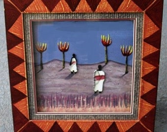 Tribal Diorama, Painting Raised Relief, Wood Framed Under Glass, Rare vintage tribal wall art, African wall hanging, southwestern wall decor