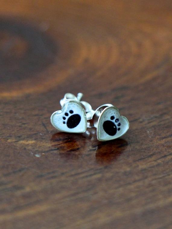 Silver Paw Cavachons: Paw Print Heart Earrings Sterling Silver Stud Earrings I