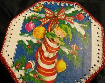 Vintage Christmas Card Basket