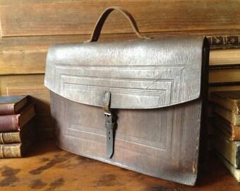 Woody Brown Leather Briefcase, Attache Portfolio, Top Handle Bag
