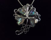 Abalone 4-Leaf Clover with crystal accents Necklace