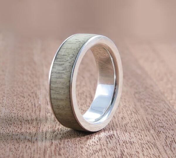 wood ring silver wood ring silver wood band rustic wedding