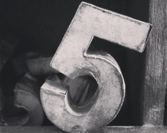 Square Black And White Print Of A Vintage Antique Metal Number 5