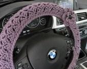 Crochet Steering Wheel Cover, Wheel Cozy with a Flower- dark mauve (CSWC 2MMM-F)