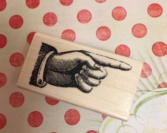 Pointing Hand Stamp /Hand Stamp Steampunk Style / Rubber Stamp Pointing Finger by Stampabilities NEW