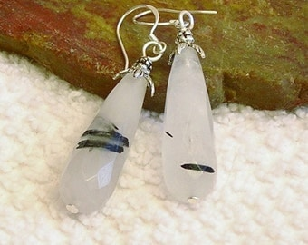"Black Tourmaline Rutilated Quartz gemstone natural teardrop faceted dangle 2"" long sterling silver earrings 3"