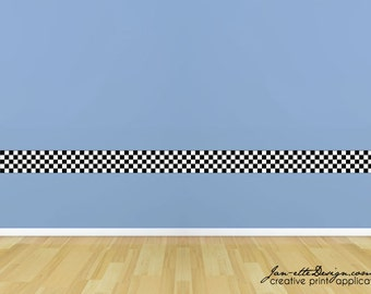 Wall Decals, Kids Checkered Wall Border, Racing Wall Art, Race Car Theme Room