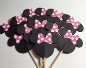 24 Minnie Mouse Cupcake Toppers w/Hot Pink and White Polka Dot Bows No. 129