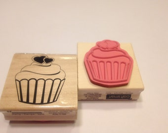 large cup cake rubber stamp, 50 mm