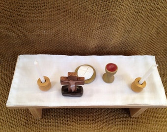 Mini Altar Set With Wood Table and  Polymer Clay Pieces Mass READY To SHIP