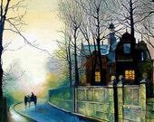 Oil Painting - Blue November - Fog Landscape - Old House Autumn Wintet - Wet Streets Made To Order - Rain Landscape
