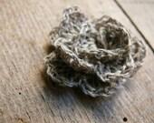 Crochet Linen Rose, Crochet linen flowers brooch pin, Wedding gift, Linen Flower Brooch Pin, crochet accessory, rosette flower, corsage