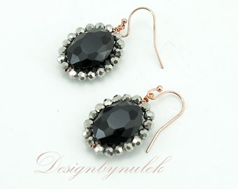Silver and jet crystal earring