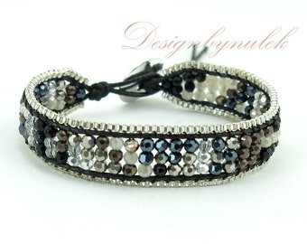 Black crystal box chain wrap bracelet.