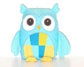 Plush Animal,  Plush Owl Pillow, Custom Owl Pillow Case and Cushion, Coastal Blue Yellow Nursery