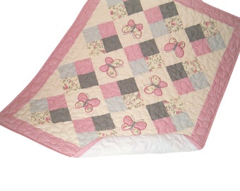 Baby Quilt, Pink Grey Baby Quilt, Butterfly Baby Quilt