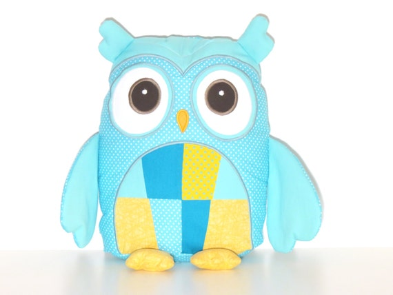 Plush Animal,  Plush Owl Pillow, Custom Owl Pillow Case and Cushion, Coastal Blue Yellow Nursery