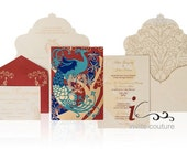 Art Deco Peacock inspired Luxury Invitation- Couture Marsala and Aqua wedding Invitation  - Metallic Invitations - InviteCouture  Design