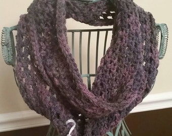 Purple and Grey Heather Infinity Scarf