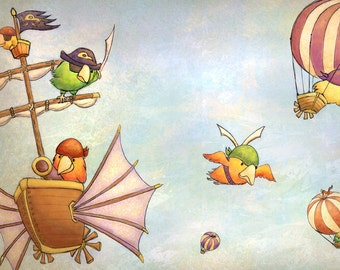 Pirate Parrots - Fine Art Print