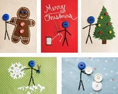 5 Christmas Embroidery Postcards
