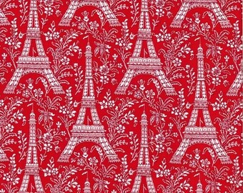 Michael Miller fabric EIFFEL TOWER on Red