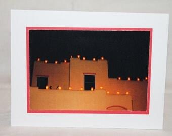 Christmas card, New Mexico, Luminaria, adobe