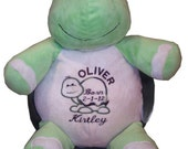 Stuffed animal turtle - personalized baby gift - custom embroidery