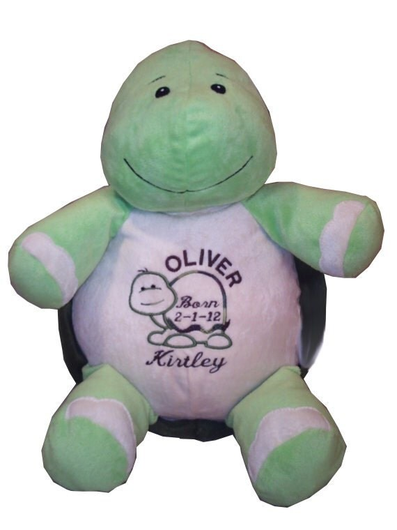 Stuffed animal, turtle, personalized baby gift, custom embroidery, birth announcement