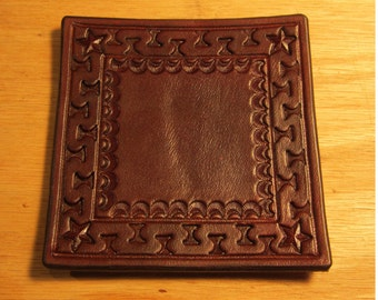 Leather Drink Coasters, Set of Four, Tooled Coaster, Beer Coaster